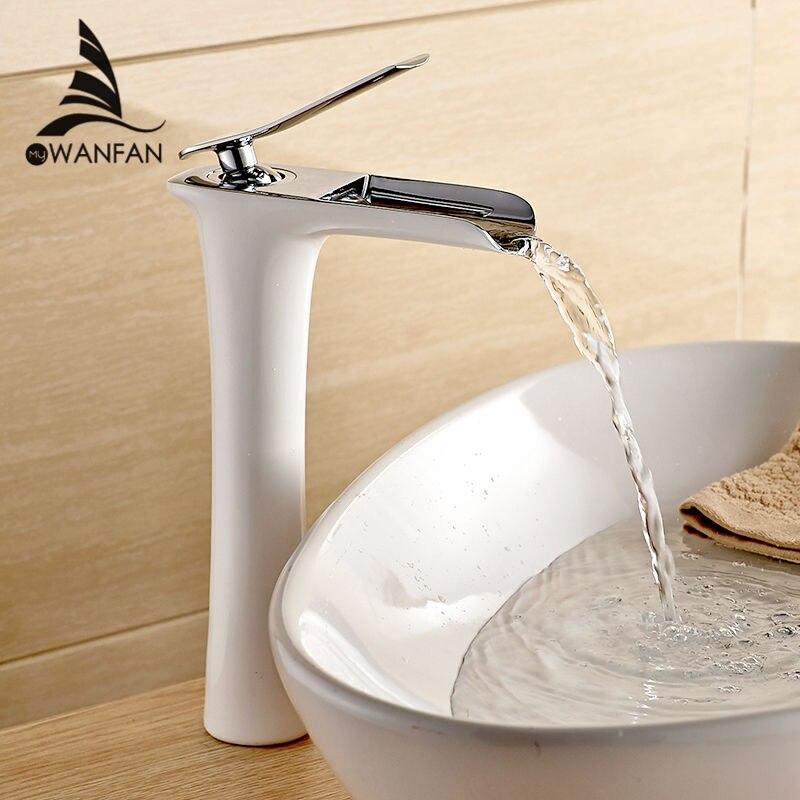 Смеситель для раковины Современный белый смеситель для ванной комнаты Водопад смесители одно отверстие Холодная и горячая вода кран Смеси...