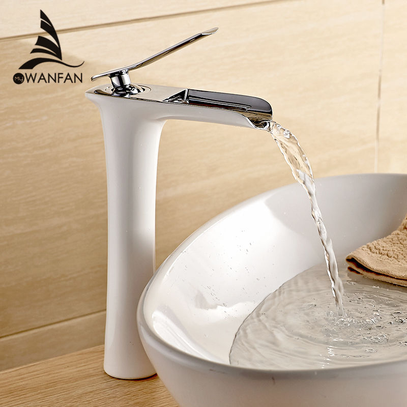 Смеситель для умывальника современный белый Ванная комната кран Водопад смесители на одно отверстие холодной и горячей воды бассейна кран ...