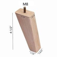 Pièce de rechange conique en bois de hêtre inachevé, 4 pièces, remplacement de canapé et de fauteuil, causeuse, Table basse, armoire, pieds, meuble