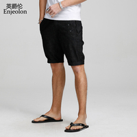 Enjeolon brand top Summer Casual Shorts Men Slim cotton black solid man shorts Available Knee length High Quality K6428