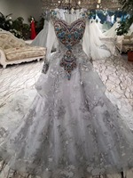 CloverBridal Alibaba Retail Store Winter Colors Rhinestones Pearls Beading Lace Appliques Smoke Wedding Dress Long Sleeve