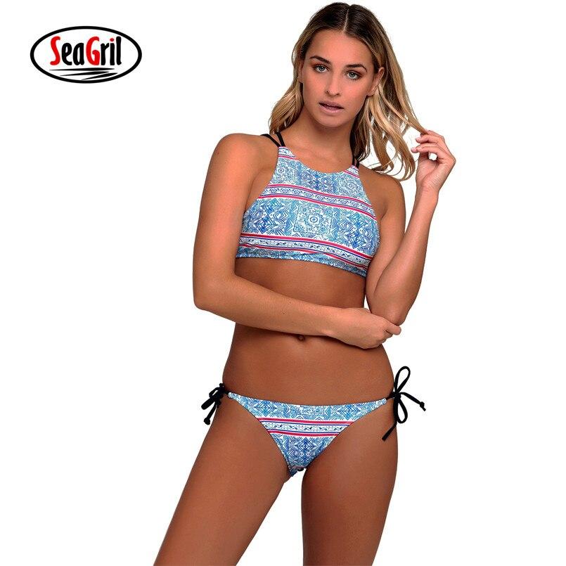 Sea Girl New Women Bikinis Blue Geometric Print Strappy Back High Neck Swimsui Female Slim Print Swimsuit Biquini t LC410156 ...