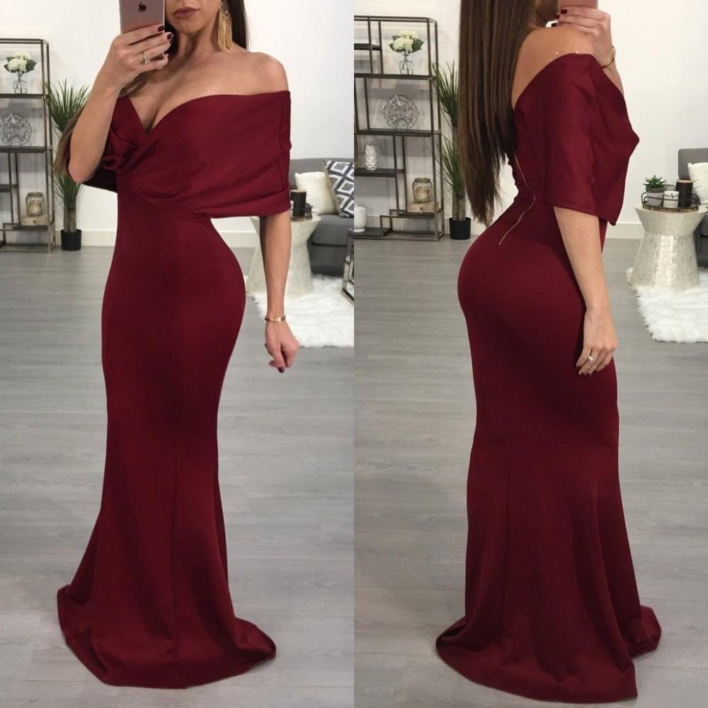 Charming Burgundy   Evening     Dress   2019 Mermaid Boat Neck Off The Shoulder Satin Long Prom Gowns Floor Length Formal   Dresses