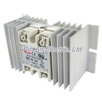 AC-AC Single Phase solid state relay SSR 25A 24-380V 80-280V + heat sink normally open single phase solid state relay ssr mgr 1 a4840 40a ac ac control voltage 70 280v ac