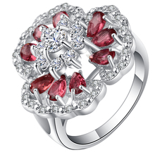 Top CZ Big Flower Rings Hot Sale Silver Color Red Crystal Blue Oval Opals Women Bridal Engagement Ring Jewellery