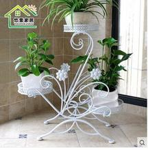 Wrought iron flower multilayer ground balcony indoor european-style flowerpot wearing cosmetic