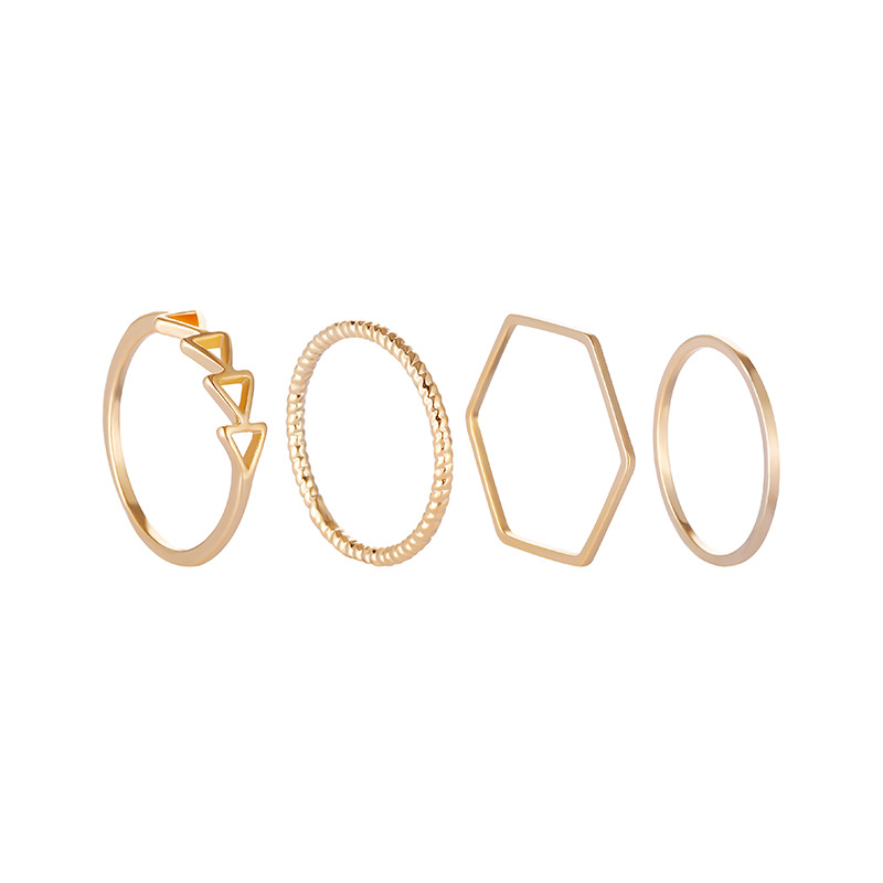 4pcs/set 2018 Simple Gold Coated Geometric Index Finger Joints Rings Set for Women Wedding Bridal Engagement Charm Jewelry Gift
