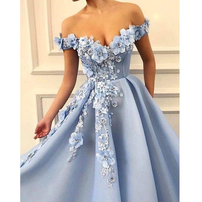 LORIE 2019 robes de bal hors de l'épaule robes de bal fleurs Appliques belle robe de princesse Tulle dos nu robe de soirée - 3