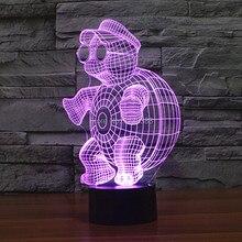 Free Shipping 7 Multi Color Changing Little Tortoise 3D LED Night Light USB Decorative Table Lamp Desk Mood Lighting