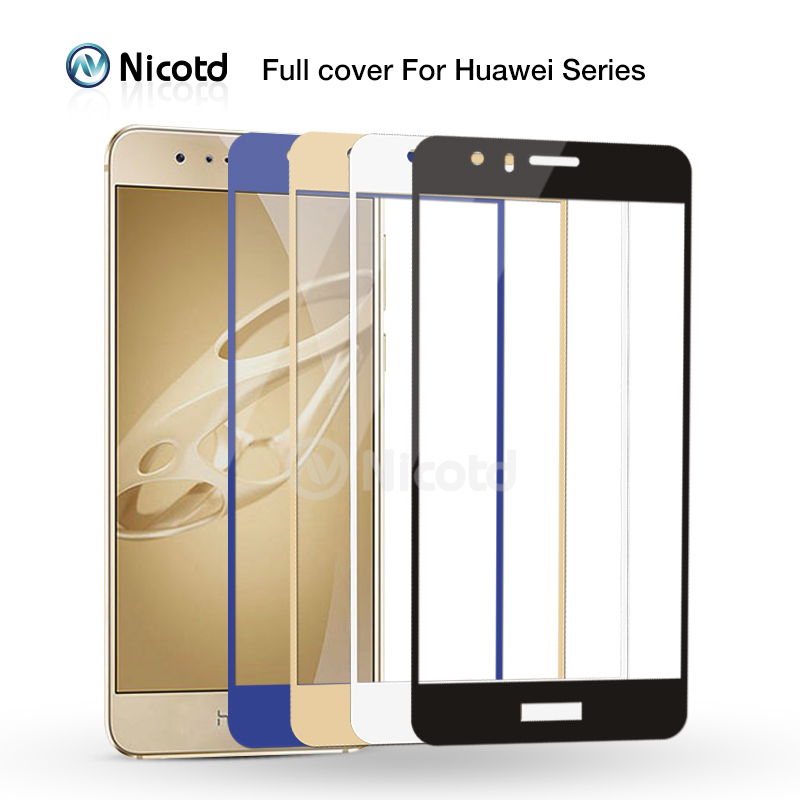 Nicotd 2.5D Full Cover Tempered Glass For Huawei Mate 8 9 P9 P10 Plus Nova Plus P8 Lite 2017 Screen Protector For Honor 8 6x V9