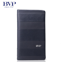 BVP High end Brand 100% Full Grain Cowhide Genuine Leather Mens Clutch Wallet Designer Long Purse with Zipper Closure J25