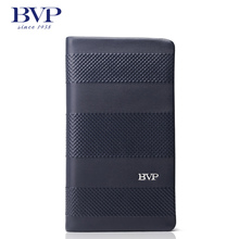 BVP – High-end Brand 100% Full Grain Cowhide Genuine Leather Mens Clutch Wallet Designer Long Purse with Zipper Closure J25