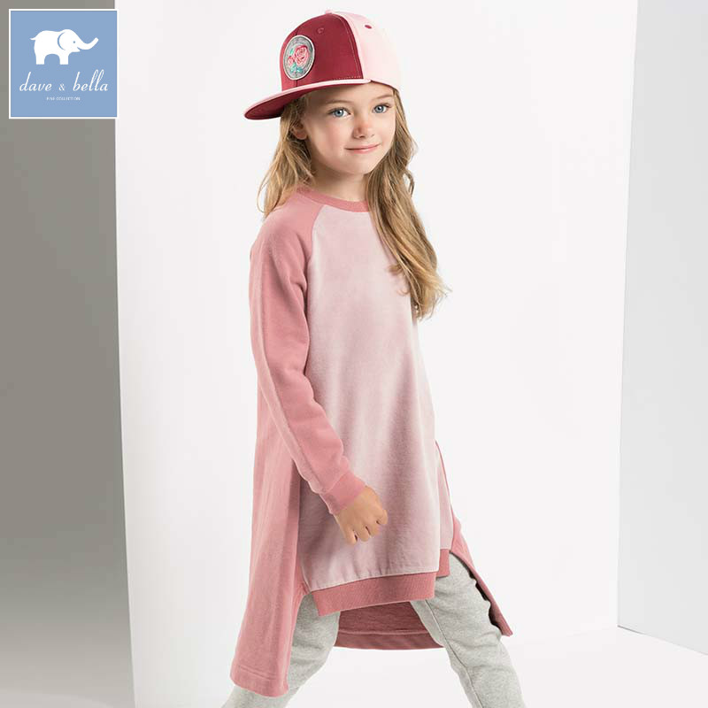DBK8123 dave bella kids 5Y-13Y dress children high quality dresses baby long sleeve clothing kids brand clothes
