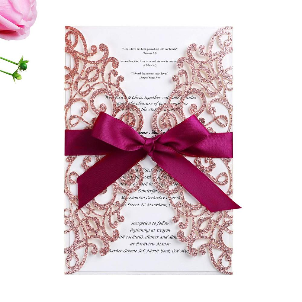 100pcs Glitter Laser Cut Wedding Invitations Cards With Ribbon Hollow Flora for Bridal Shower Baby Shower