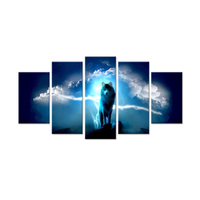 Animal Canvas Wall Art Wolf Wolves Predator Artwork Over Fantasy Sky Storm Lightning Picture Print For Home Decor Living Room