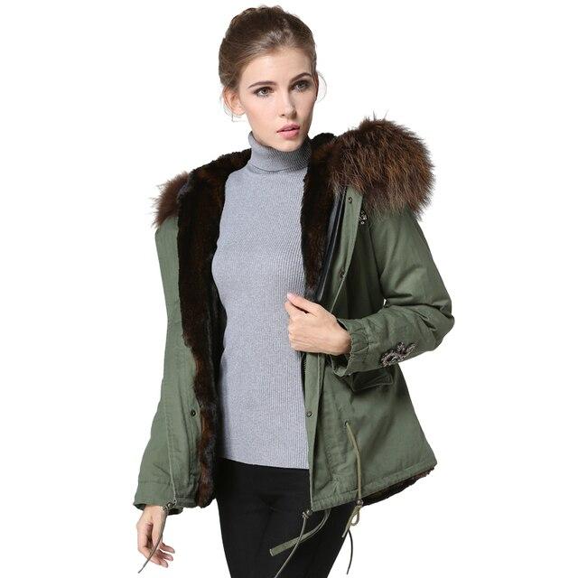 best loved 3b83a 610b9 € 338.82  2017 estilo corto cuello de piel real Mr & Mrs parka, invierno de  la señora abrigo de pieles con capucha, mujeres de la manera chaqueta de ...