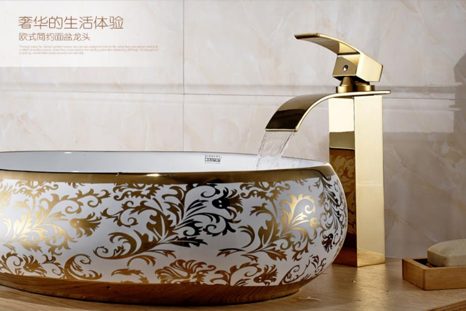 Merdeka Square Bathroom Sink Mixer Golden Color Finish Waterfall Faucet Hot Cold Water Control