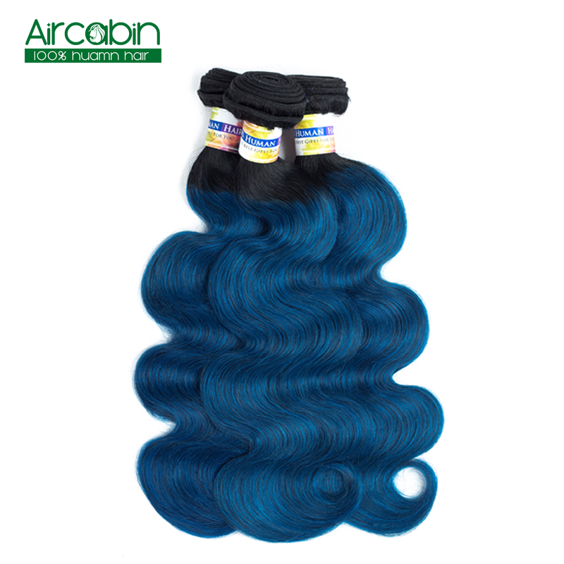 Peruvian 1B/Blue Human Hair Extensions 4 Bundles Pre-Colored Ombre Body Wave Bundles AirCabin Non Remy Hair Extensions