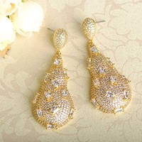 Blucome Sparkling Cubic Zirconia Water Drop Earrings For Women Gold Color Copper Max Brincos Bridal Wedding Party Accessories