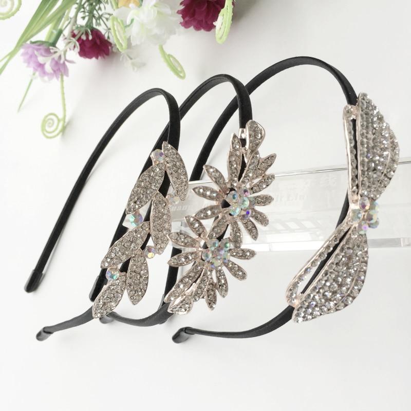 Korean Jewelry Shine Rhinestone Headband Flower Flora Princess Bride Hairband Tiara Crown Cute Elsa Hair Accessories Headbands
