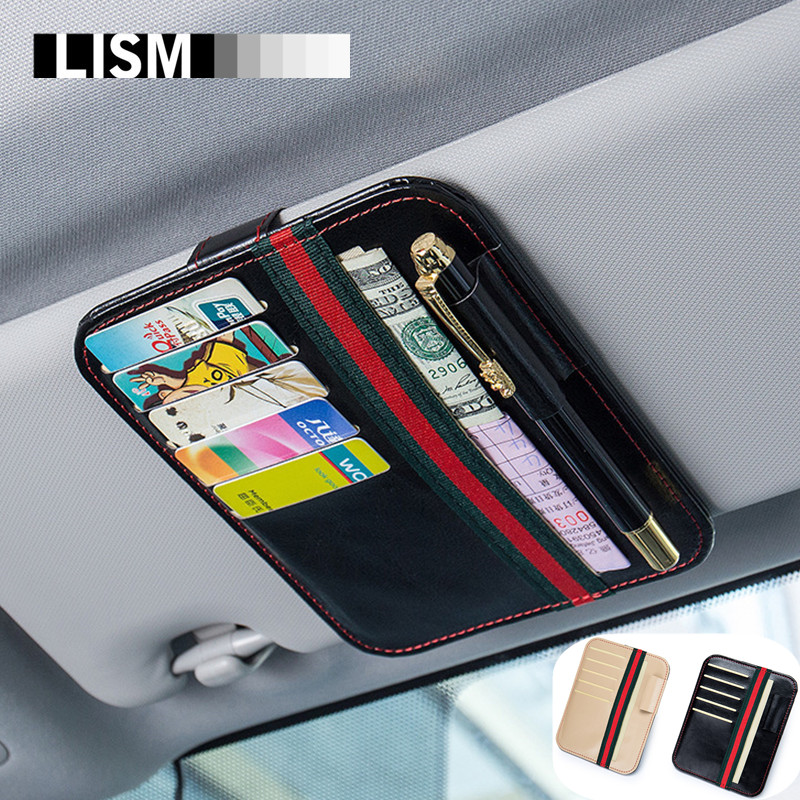 Universal Car Auto Sun Visor Card Case Holder Clipper Hold Papers Organizer Ticket Bag Pen Hanger Car-Styling Stowing Tidying