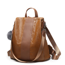 Handmade big leather backpack women 2019 cowhide sale womens fashion shoulder bag simple solid color
