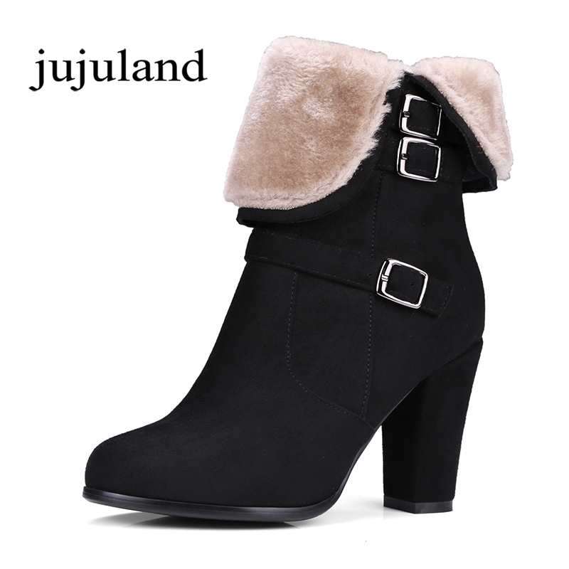 Winter Women Shoes Ankle Martin Boots Chelsea Boots Zip Zipper Round Toe Square High Heels Big Size Plush Solid Buckle Straps цена 2016