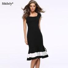 d692a1461c67 Sikilely Autumn Elegant Casual Dress Mermaid Bodycon White Black Patchwork  Vestido Slimming Women s Dresses Party Fishtail 2017
