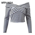 VESTLINDA Spring Casual Women T-shirt 2017 Long Sleeve Off The Shoulder Short T Shirt Black White Stripe Tops Women Tee Shirts