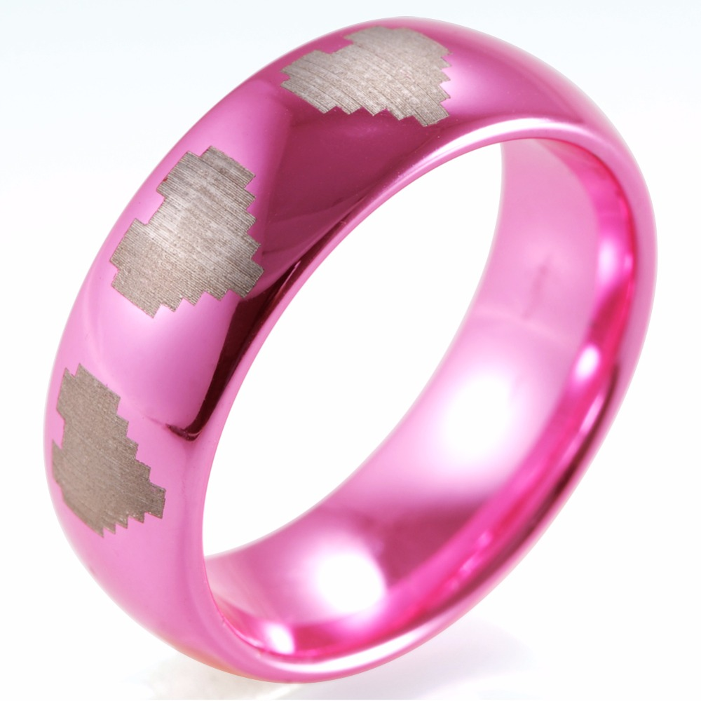 SHARDON Wedding and engagement jewelry 8mm Pink Tungsten Ring with ...