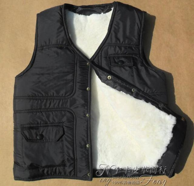 Wool vest quinquagenarian male one piece fur waistcoat Men winter thermal cotton vest sheep shearing