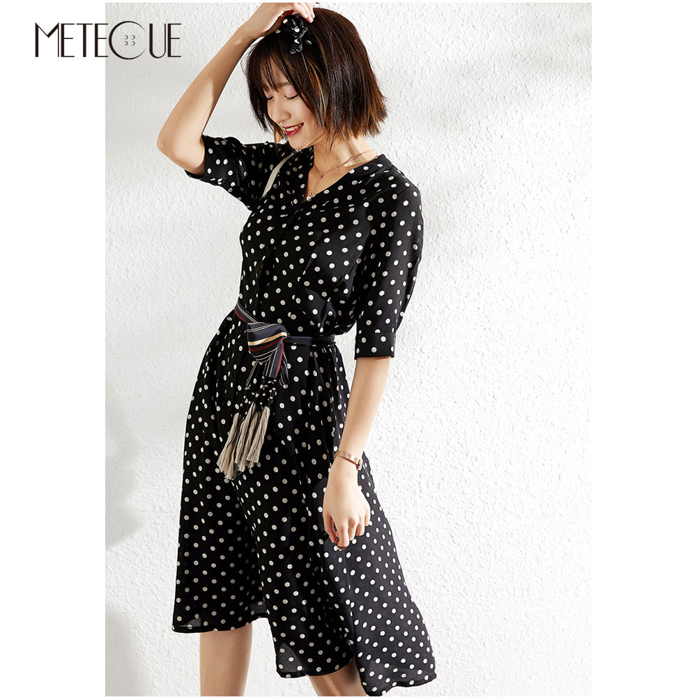 100 Silk Dot Dress with Sash 2019 Spring Summer Fashion V Neck Half Sleeve Midi Dress