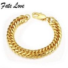 Fate love classic pulsera enlace pulseras de cadena de color oro de lujo de la boda 8/10/12mm hombre pulsos joyas accesorio regalo fl946c