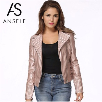 Anself Fashion Women Autumn PU Leather Jacket Long Sleeve Rivet Motorcycle Biker Jacket Faux Leather Short Coat Street Outerwear leather jacket
