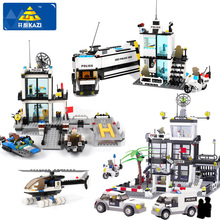 KAZI Police Station Building Blocks Helicopter Vehicle Bricks  with legoingly City Educational toy for Children Gifts sembo city police trucks military trunk satellite communication equipment vehicle building blocks educational toys for children