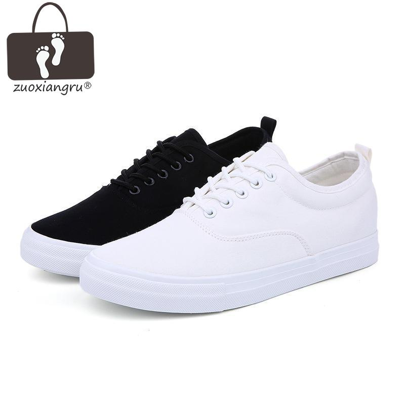 Zuoxiangru Men Shoes Fashion Black/white Lace-up Canvas Shoes Breathable Men Casual Shoes Flat Quality Size 39-44