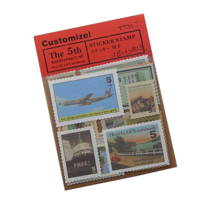18 Pcs / Pack Midori Travelers Notebook 5 Vintage Travel Stamps Stickers 4 Design Sheets Diy Multifunction
