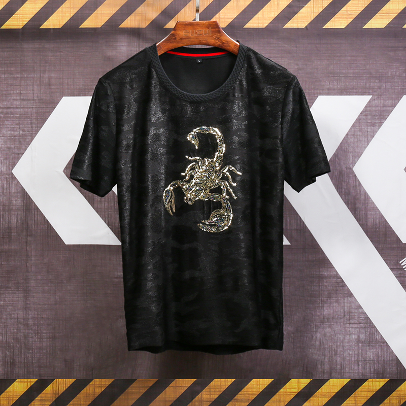 Embroidered scorpion pattern camouflage printing luxury short sleeve t  shirt Summer 2018 New soft comfortable t shirt men M 5XL-in T-Shirts from  Men s ... 88aa782a158b