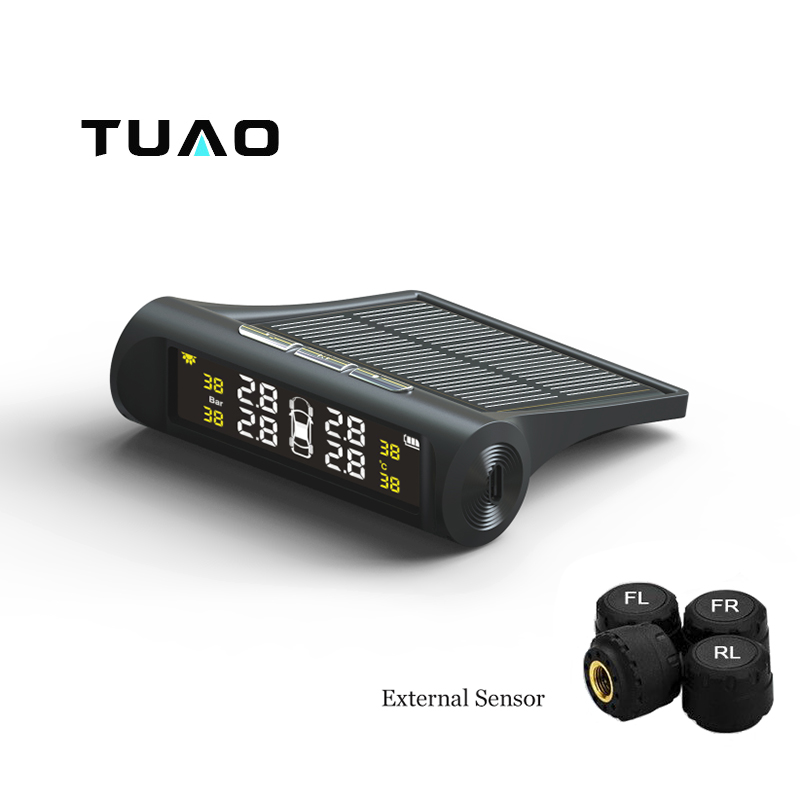 imágenes para TUAO TPMS Sistema de Monitoreo de Presión de Neumáticos de Coches de Energía Solar LCD Pantalla a Color 4 Sensor Externo Auto Sistema de Alarma Del Coche electrónica