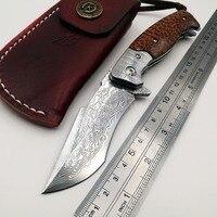 Cheetah складной Ножи VG10 Дамаск лезвие деревянной ручкой Открытый Отдых армейские карманные ножи выживания Охота тактический EDC инструменты