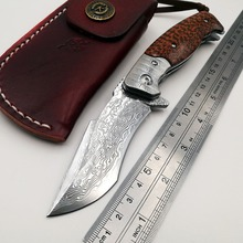 цена на Cheetah Folding Knife VG10 Damascus Blade Wood Handle Outdoor Camping Combat Pocket Knives Survival Hunting Tactical EDC Tools