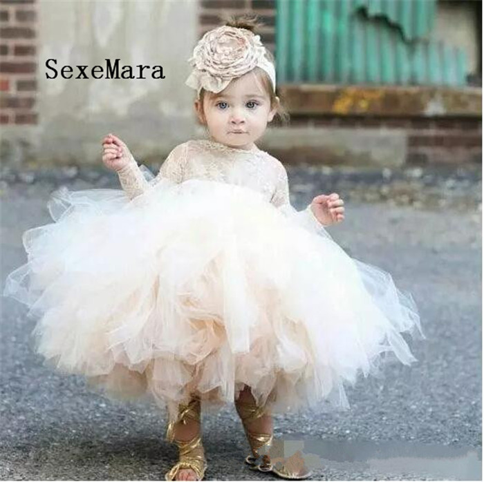 Baby Infant Toddler Birthday Dress long sleeve lace tutu dress ivory and champagne flower girl dress for wedding 2018 lovely baby infant toddler little girls birthday dress long sleeve lace tulle flower girl dress tutu ball gowns