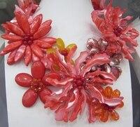 2017 новое поступление удивительные красный перламутр В виде ракушки цветок wrap ожерелье для женщин