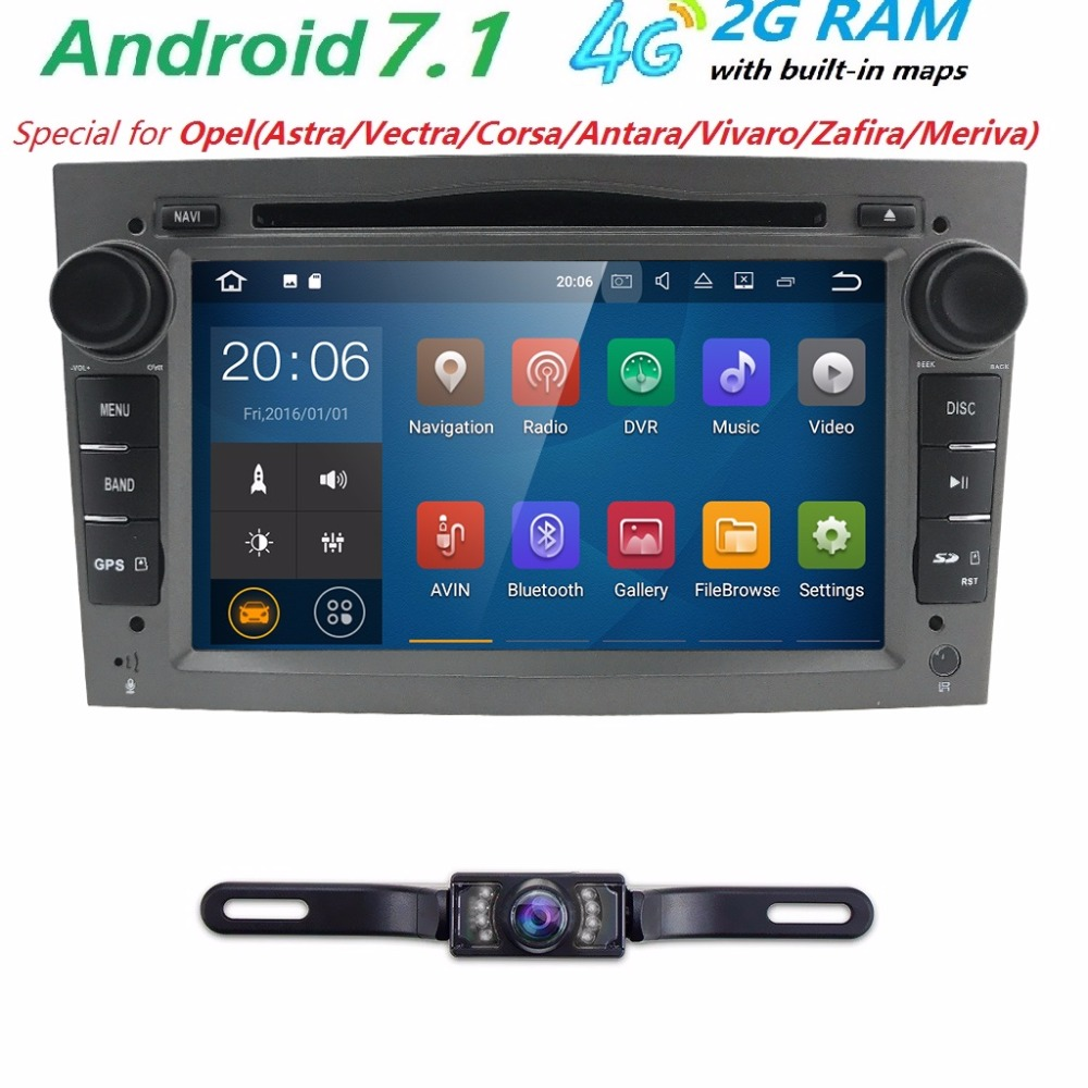2GRAM HD1024 600 2DIN Quad Core Android7 1 Car DVD Player GPS Radio For Opel Astra