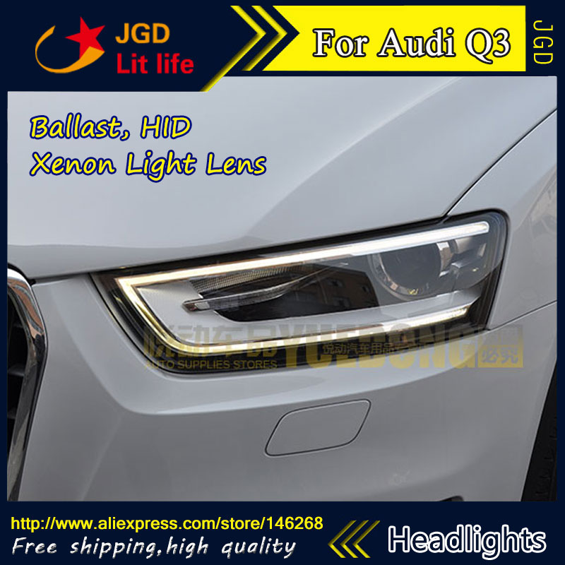 Free shipping ! Car styling LED HID Rio LED headlights Head Lamp case for Audi Q3 2013 2014 Bi-Xenon Lens low beam