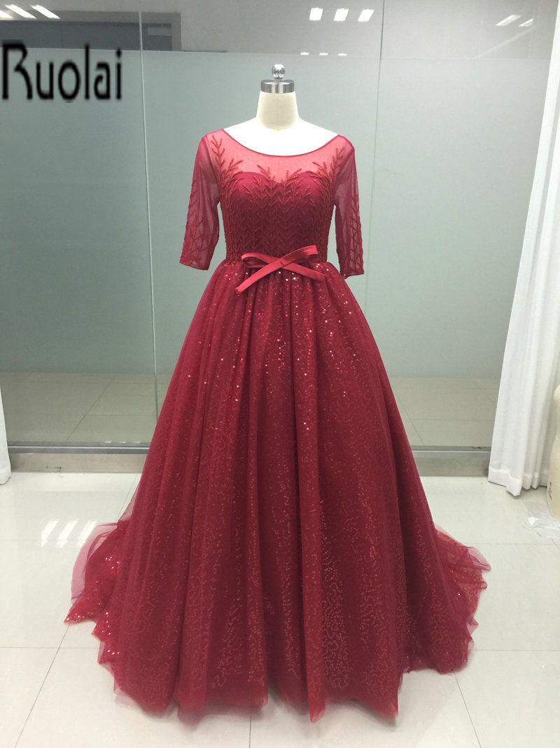 2017 Elegant Red Tulle   Prom     Dresses   Scoop Three Quarter Sleeves Beading Sequined Sash Sheer Back Wedding Party   Dress   Custom Made