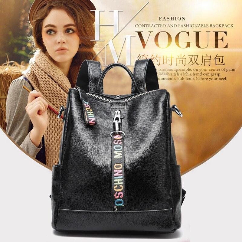Femmes 100% en cuir véritable sac à dos de haute qualité jeunes sacs à dos pour adolescentes femme école sac à bandoulière sac à dos
