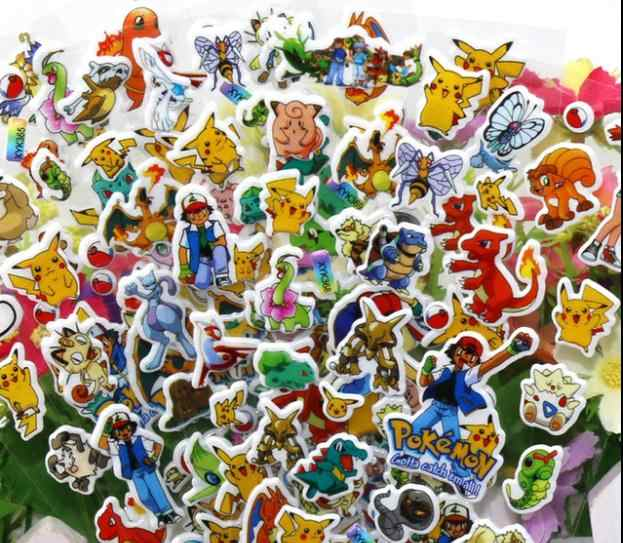 Baru 12 Lembar/Banyak Anime Lucu Pokemon Stiker Pikachu Pocket Monster Scrapbooking Dinding Anak-anak Stiker Mainan Stiker Gelembung Mengajar
