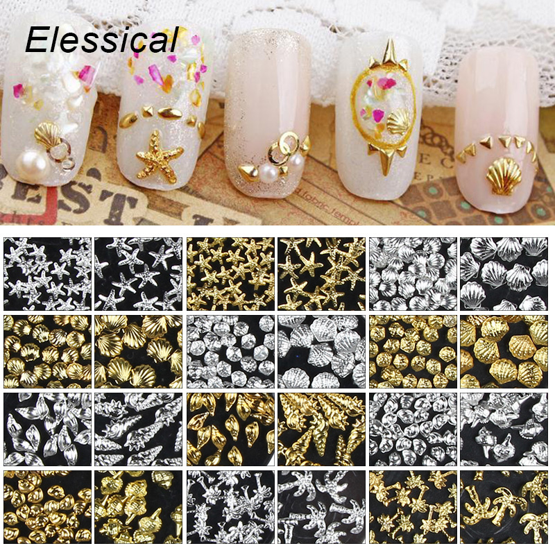 ELESSICAL 100Pcs/lot Ocean Style Shell Starfish Conch Design Nail Charms Slice Nail Stickers Nails Art Decoration MA0792-MA0817 beach style conch shell starfish printed stair stickers