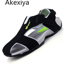 Akexiya 2016 Summer Sandals Men Closed Toe Fashion Beach Men Sandals Flexional Suede Leather Shoes Beach Shoes Big Size